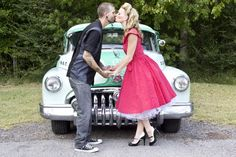 Devin + Barrett :: Engaged Photo By Becki Isaac Photography Rockabilly engagement photos! #pinupstyle