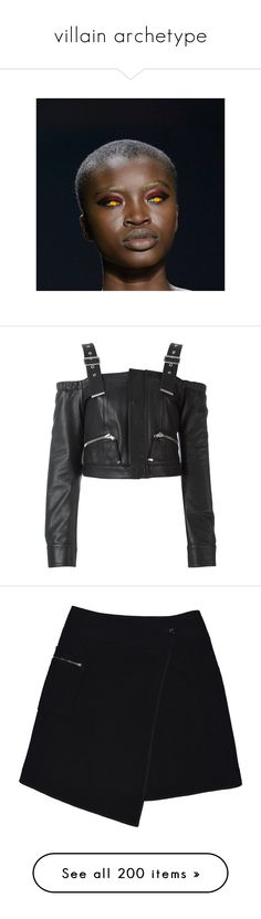 """villain archetype"" by rojinnn ❤ liked on Polyvore featuring tops, blouses, jackets, shirts, black, leather blouse, leather top, diesel black gold, skirts and saias"