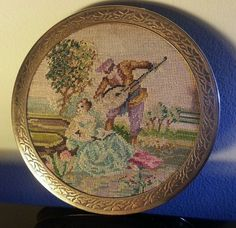 Vintage Powder Compact Tapestry To Front . Distressed bevelled glass Mirror.