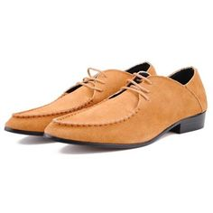 Men Leather Pure Color Pointed Toe Lace Up Flat Formal Business Shoes - Gchoic.com