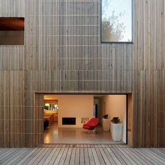 House in Orsay, France wrapped in strips of cedar cladding by Avenier & Cornejo Architecte. Wooden Cladding, Timber Battens, Cedar Cladding, Wooden Facade, Wood Architecture, Beautiful Architecture, Contemporary Architecture, Architecture Details, House Ideas