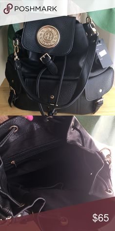Backpack/Handbag Black Leather Backpack leather can also be worn as a Handbag, Large size Bags Backpacks