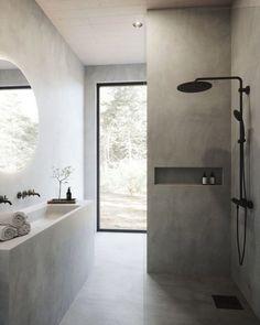 Modern Bathroom, Small Bathroom, Bathroom Bath, Bath Tubs, Bathroom Colors, Concrete Bathroom, Remodel Bathroom, Colorful Bathroom, Stone Bathroom