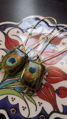 Peacock Feather Earrings by HandsCraft on Etsy