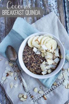 Coconut Breakfast Quinoa recipe. A healthy and delicious hot breakfast alternative to oatmeal! Great fall or winter breakfast or afternoon snack from @fannetasticfood