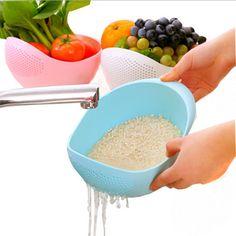 Uso de la cocina de arroz olla de lavado de color caramelo plástico escurridor fuga de recipientes de almacenamiento de plástico cesta de frutas vegetales de cocina herramienta de la cocina