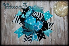 Funky Turquoise and Black hair bow  Spring Hair by tootoocute4you