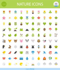 Today's freebie is a nice set Of 100 Free Nature Icons, they all are friendly and clean so they're perfect for social media, kids' sites, and any project Flat Design Icons, Icon Design, Logo Design, Kids Sites, Free Icon Fonts, Note Doodles, School Icon, Flat Design Illustration, Sketch Notes