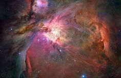 The Orion Nebula, M42, is only 1,500 light-years away. It offers one of the best opportunities to study how stars are born partly because it is the nearest large star-forming region, but also because the nebula's energetic stars have blown away obscuring dust clouds