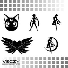 sailor moon silhouette svg files for cricut digital art by Veczy Sailor Moon Birthday, Moon Crafts, Moon Silhouette, Vector File, Svg File, Sailor Scouts, Silhouette Cameo Projects, Anime, Tattoo Studio