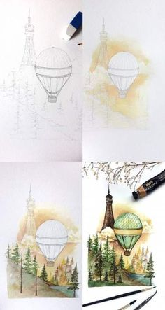 Mini tutorial of a watercolor painting, step by step process photos of how I painted this hot air balloon piece . Watercolour Tutorials, Watercolor Techniques, Art Techniques, Step By Step Watercolor, Step By Step Painting, Art Sketches, Art Drawings, Art Projects For Teens, Art Plastique