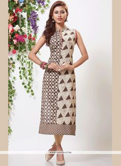 Stand out from rest with this multi colour cotton party wear kurti. The ethnic print work with the attire adds a sign of magnificence statement for the look. (Slight variation in color, fabric & wor. Kurta Designs Women, Kurti Neck Designs, Kurti Designs Party Wear, Kurti Patterns, Dress Patterns, Sewing Patterns, Long Skirt And Top, Frock Models, Batik Dress
