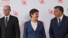 Der ehemalige Premierminister Tschechiens, Sobotka, mit seinen Amtskollegen Szydlo (Polen) und Orbán (Ungarn)(2016)
