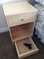 Hidden Bedside Gun Safe Nightstand - Traditional -- needs a lock, but a good idea!