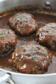 Simple Salisbury Steak Healthy Beef Recipes, Beef Recipes For Dinner, Ground Beef Recipes, Crockpot Recipes, Snack Recipes, Cooking Recipes, Saulsberry Steak Recipes, Macaroni Grill Recipes, Cooking Okra
