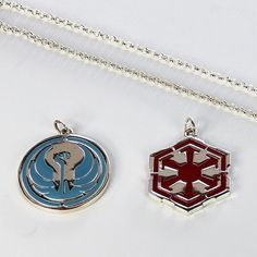 Jinx x Star Wars The Old Republic faction symbol pendants