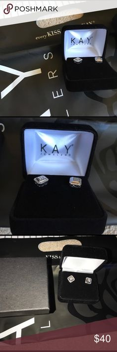 NIB Kay Jewelers Sterling Silver & diamond Earring This is a brand new pair of Kay jewelers sterling and diamond stud earring's. They've never been worn and never removed from the box. Comes with Jewelry box and outside box as pictured. Kay Jewelers Jewelry Earrings