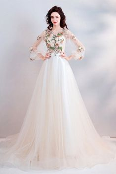 0a43493483 Pretty A Line Long Sleeves Tulle Appliques Prom Dresses With Flowers OKG69  – Okdresses Balo Elbiseler