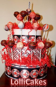 Boston RedSox Cake Pop {Cake}