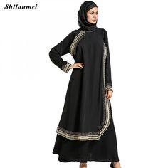 Dubai Dresses For Women Long Sleeve Black Muslim Robe Vintage Maxi Headband Kimono Abaya Malaysia Musulman Islamic Clothing 2017 #Islamic clothing Islamic Clothing, Elegant Dresses, Kimono Abaya, Spring Outfits, Beachwear, Vintage Outfits, Muslim, Dubai, Long Sleeve