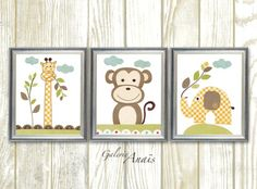 This is a set of prints made on matte photo paper that will need to be framed.  Giraffe monkey elephant jungle - Animal yellow brown green - baby nursery - Playroom decor - kids room decor - Set of 3 prints Old Buddies  Check out my shop: http://www.etsy.com/shop/GalerieAnais Options: