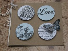 handmade card ... kraft base with white and navy circles in a four square ... like the off-the-edge stamping ...