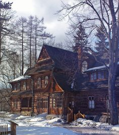 Zakopane - Poland 'Koliba' - wooden villa designed by Stanisław Witkiewicz in the end of XIXth century. Zakopane Poland, Villa Design, Cabins And Cottages, Le Far West, Abandoned Mansions, Cabins In The Woods, Cabin Fever, Log Homes, My Dream Home