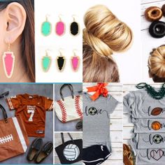Today's Fashion and Style line up - baseball, football, soccer, basketball, hair bun, jewelry, earings
