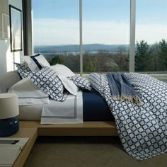 Discover more ways to relax with luxury bedding sets and bedding collections, offering the ultimate in designer style and comfort for your master bedroom or guestroom. Navy Blue Bedding, Navy Blue Bedrooms, Blue Bedroom Decor, Bedding Master Bedroom, Bedroom Ideas, Seaside Bedroom, White Bedrooms, Teen Bedding, Bedroom Inspiration