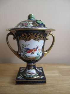 Antique Booths Silicon China Scale Cobalt Blue Exotic Birds Vase Hand Painted