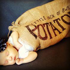 Newborn Halloween costume! It says 'little sack of sweet potatoes.' Love her