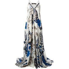 Roberto Cavalli floral print gown (11.775 VEF) ❤ liked on Polyvore featuring dresses, gowns, long dresses, vestidos, evening gowns, white, floral print evening gown, long white dress, long white evening dress and floral evening gown