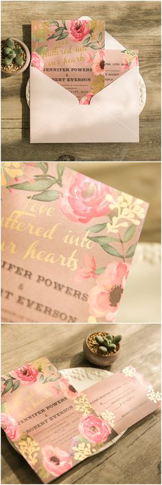 rustic chic pink floral wedding invitations with gold foiled words
