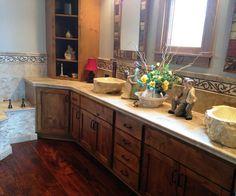 Custom Bath Vanity w/ one-of-a-kind stone vessel bowls