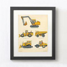 Construction Truck Print wall art for boys Toddler decor Toddler Boy Room Decor, Toddler Art, Boys Room Decor, Nursery Decor, Kids Prints, Wall Prints, Boys Construction Room, Truck Room, Boy Wall Art