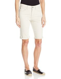 NYDJ Women's Briella Roll Cuff Jean Short in Colored Bull Denim, Clay, Short silhouette features a roll cuff hem with classic 5 pocket styling, zip fly, and button closure. Women's Jeans, Casual Jeans, Kim Kardashian Highlights, Spring Shorts, Monochrome Outfit, Big Butts, August 25, Skin Tight, Petite Size