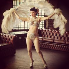 """Lil #actionshot with the #featherfans #burlesque #showgirl  #costume #feathers #pinup #vintagestyle #underwear #bling #dancer #burlesquedancer…"""
