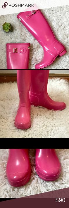 Glossy Pink Hunter US 6 Wellington Boots Very nice boots! Size 6 US Decorative buckle Waterproof + fun color! Very light wear. Small scuff here and there. Minor! Very clean. Hunter Shoes Winter & Rain Boots