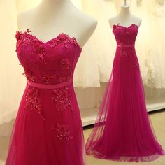 Pretty Rose-Red chiffon Small V-neck exquisite applique dress, Wedding Bridesmaid Dresses Pageant dress party formal dress