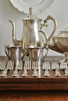 In the midst of preparations for my sale, my house suffers. Laundry piles up, boxes are stacked all around, dishes remain in the sink a. Vintage Tea, Vintage Silver, Antique Silver, Pocket Watch Antique, Butler Pantry, China Sets, Southern Comfort, Silver Plate, Silver Cutlery