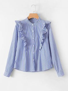 design of blouse Shop Ruffle Insert Striped Blouse online. SheIn offers Ruffle Insert Striped Blouse & more to fit your fashionable needs. Hijab Fashion, Fashion Clothes, Fashion Dresses, Cute Blouses, Blouses For Women, Shirt Blouses, Shirts, Kurta Designs, Blouse Designs