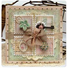 Gorgeous Shabby Four Square Card...with pastel papers & many embellishments.
