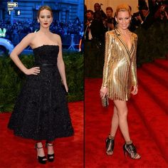 Fashion even the Capitol would envy... Jennifer Lawrence and Elizabeth Banks made a striking impression at last night's Met Gala fundraiser!