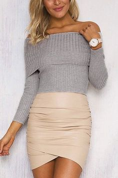 Grey Sexy Off Shoulder Long Sleeves Jumper - US$15.95 -YOINS