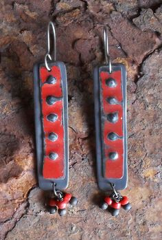 Assemblage Dangle Earrings Copper Vintage Tin & by LisaFlanders, $50.00