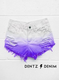 High Waisted Denim Shorts - White Purple Ombre
