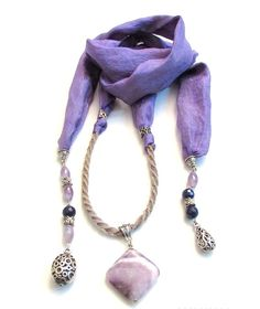 purple  handmade  silk  necklace by MUsShop on Etsy
