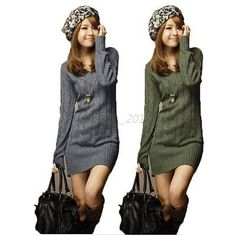 Chic Women Autumn Winter Slim Long Sleeve BodyCon Knit Sweater Party Mini Dress