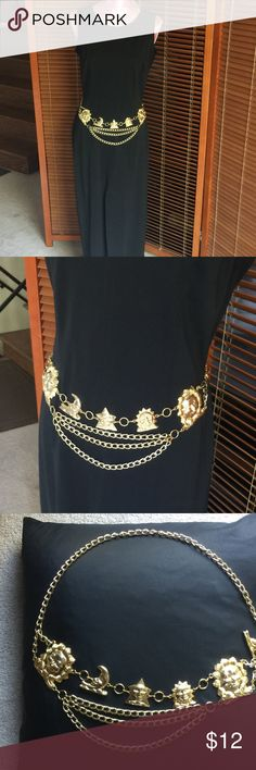 Gold tone chain belt VINTAGE chain belt adds sparkle and style to your favorite outfits. There's no stopping you when you have this secret weapon in your accessory arsenal.  Adjustable metal belt features smiling sun and moon faces and a lobster claw closure. PRICE IS FIRM!!!! UNKNOWN Accessories Belts