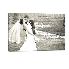 wedding photo with first dance song lyrics on canvas